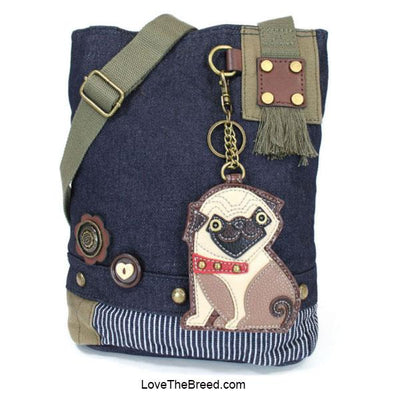 Pug Patch Crossbody Denim Handbag Chala