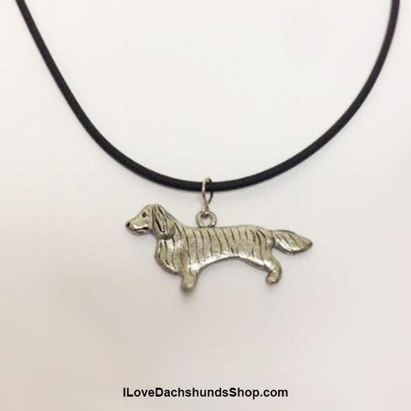 Dachshund Necklace Long Hair Pewter