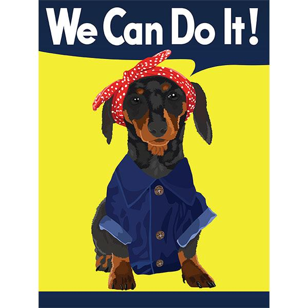 Dachshund Black and Tan Rosie the Riveter Night Shirt / Beach Cover-up