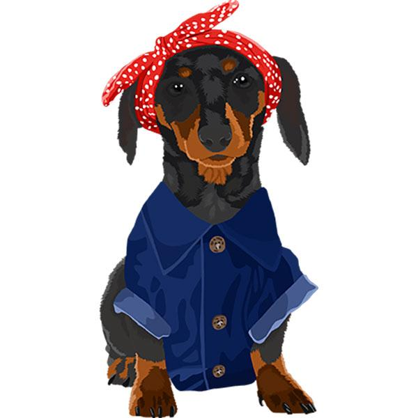 Dachshund Black and Tan Dog Rosie the Riveter Night Shirt / Beach Cover-Up