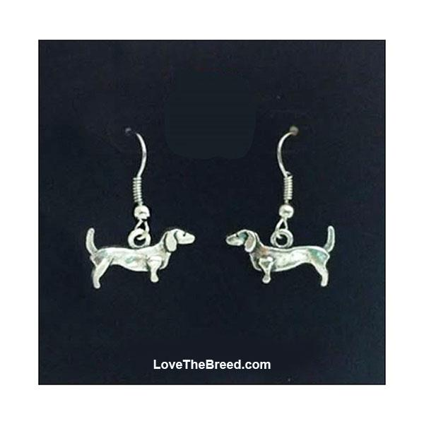 Dachshund Silver Bead Charm Earrings