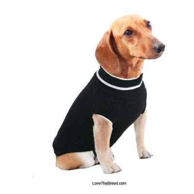 Dog Sweater Classic Cable Knit Black