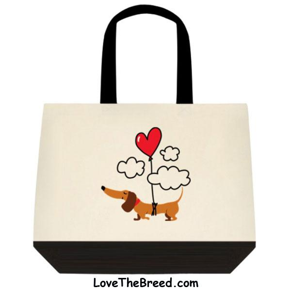 Dachshund Up Up and Away Heart Balloon Extra Large Tote