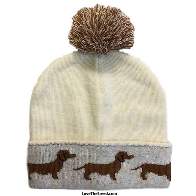 Dachshund Winter Knit Hat Cream and Brown