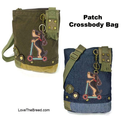 Dachshund on Scooter Patch Crossbody Bag Adjustable Strap Chala