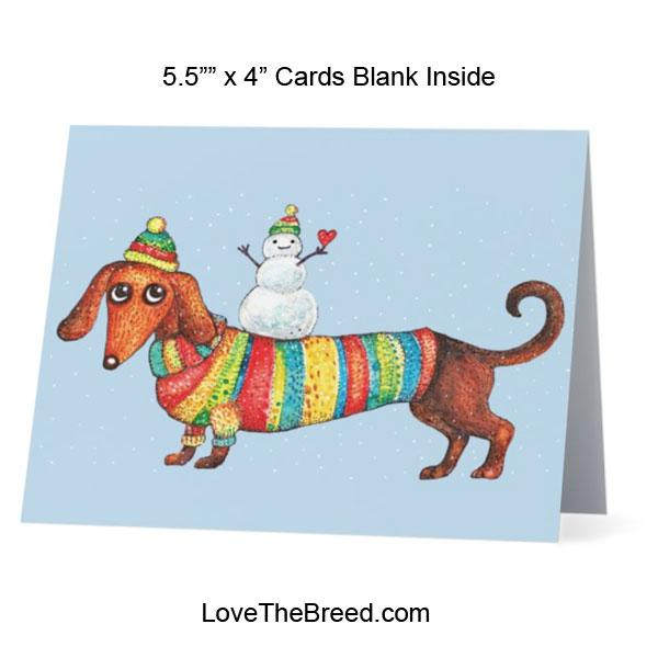 Dachshund with Snowman Card