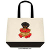 Dachshund Black and Tan in Apple Basket Extra Large Tote