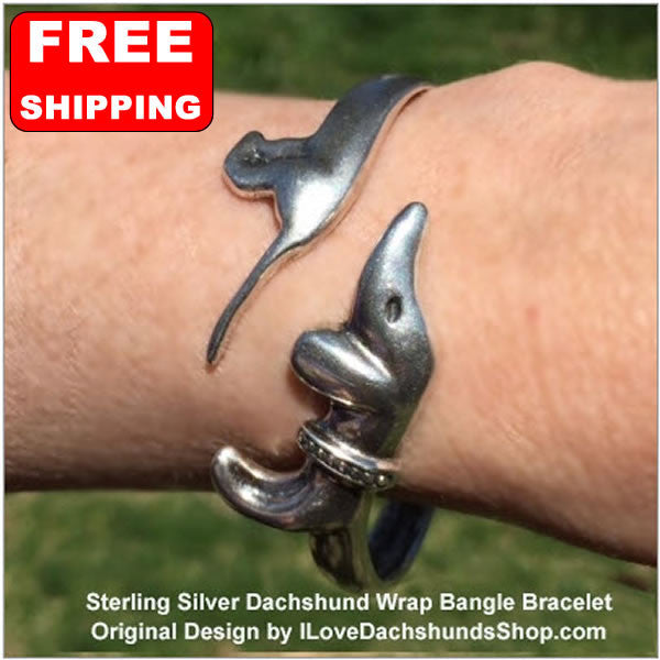 Dachshund Bangle Bracelet Sterling Silver
