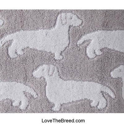 Dachshund Bath Towel Gray and White