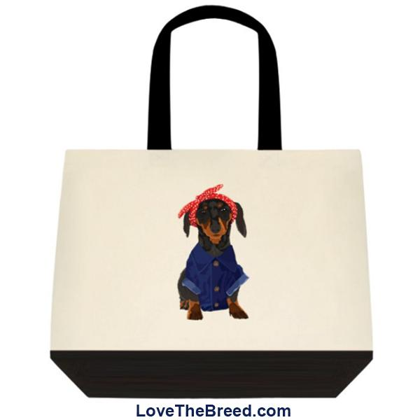 Dachshund Black and Tan DOG Rosie the Riveter Extra Large Tote