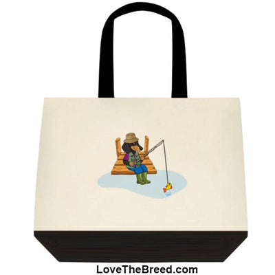Dachshund Fishing Black and Tan Dog Extra Large Tote