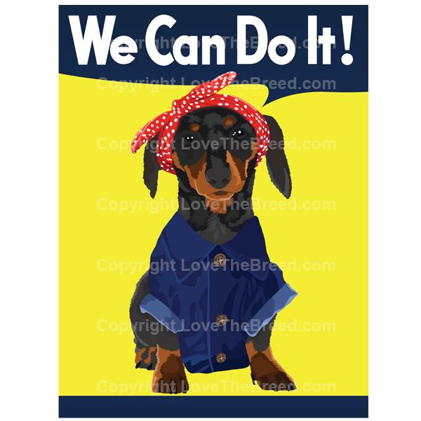 Dachshund Rosie the Riveter Print