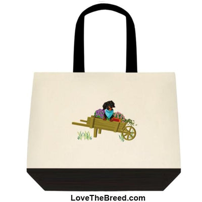 Dachshund Black and Tan in Wheelbarrow Extra Large Tote
