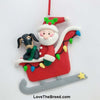Dachshund in Sled with Santa Handmade Ornament Collectible