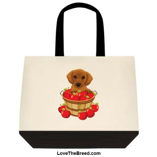 Dachshund Brown in Apple Basket Extra Large Tote