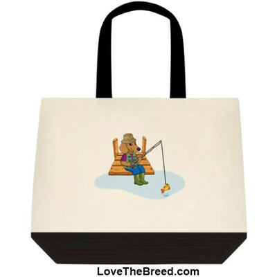 Dachshund Fishing Brown Dog Extra Large Tote