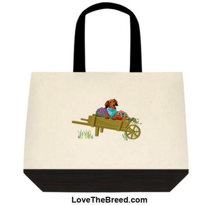 Dachshund Brown in Wheelbarrow Extra Large Tote
