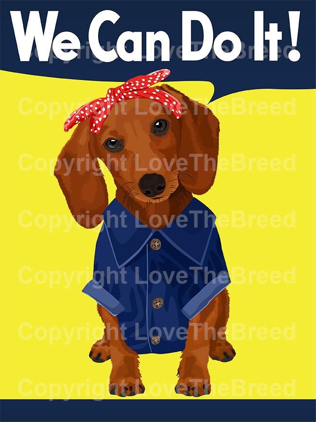 Dachshund Brown Rosie the Riveter Print
