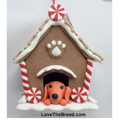 Dachshund in Gingerbread Dog House Handmade Ornament Collectible