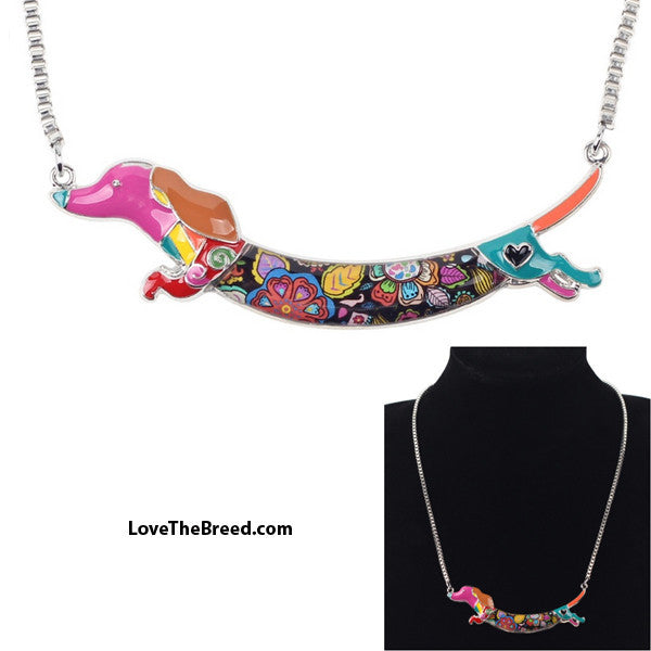Dachshund Colorful Enamel Necklace RUNNING