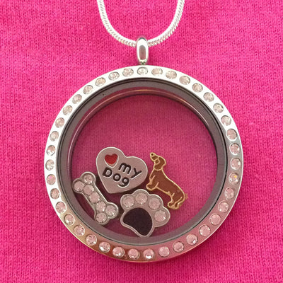 Dachshund Floating Charm Locket - Circle with Crystals