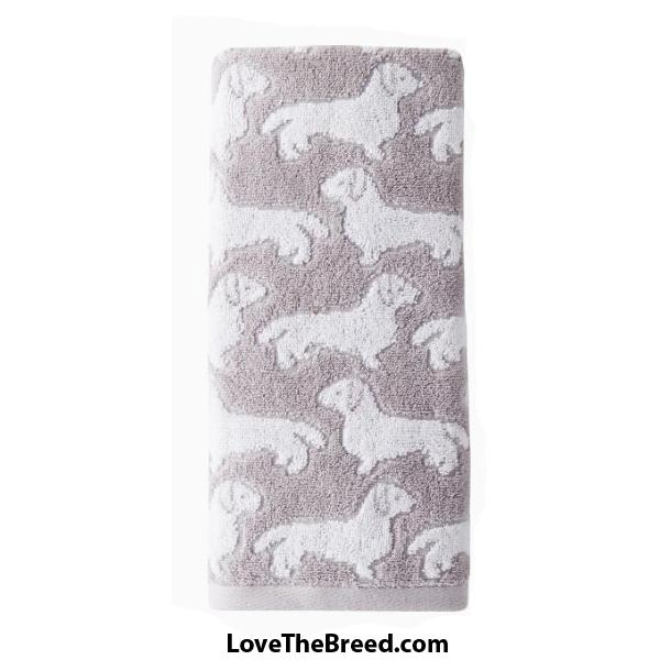 Dachshund Hand Towel Gray and White