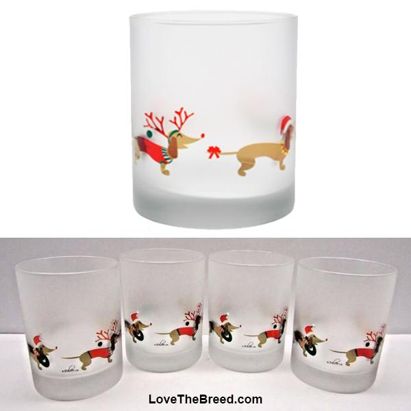 Dachshund Holiday Drinking Glass Frosted 14 ounces