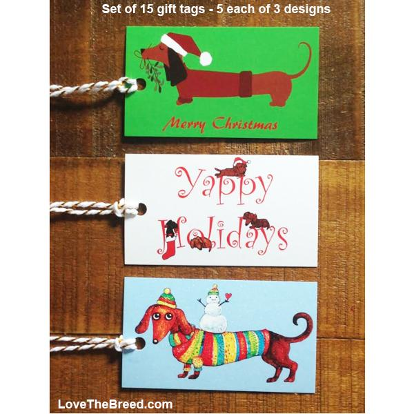 Dachshund Holiday Gift Tags set of 15