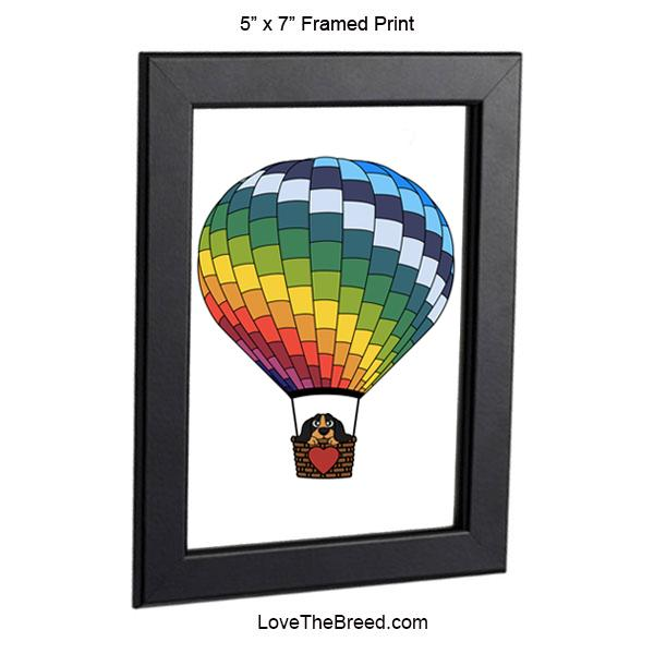 Dachshund in Hot Air Balloon Black and Tan Framed Print 5 x 7