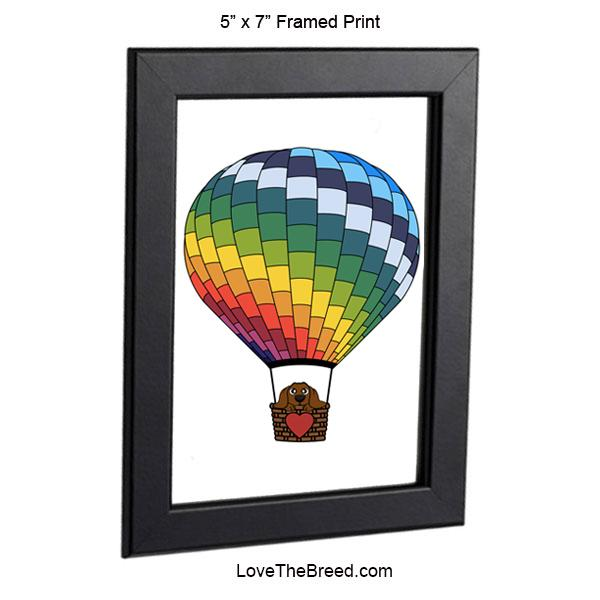 Dachshund in Hot Air Balloon Brown Framed Print 5 x 7