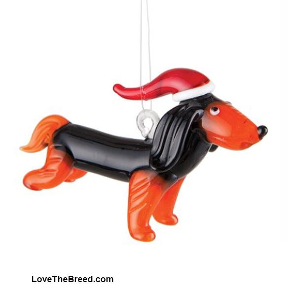 Dachshund Long Hair Glass Holiday Ornament