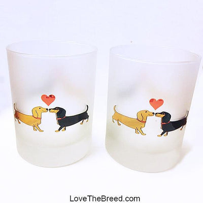 Dachshund Long on Love Drinking Glasses SET OF 2 Frosted 14 oz
