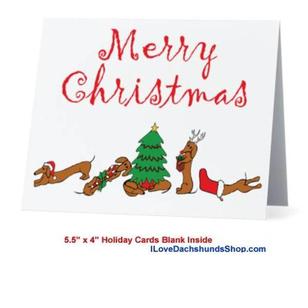 Dachshund Style Merry Christmas Card