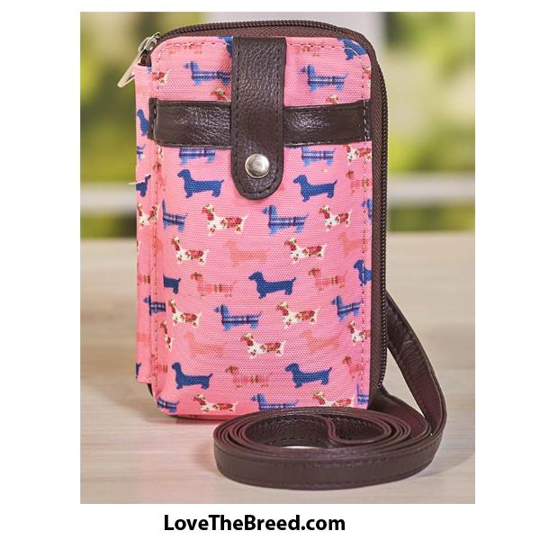 Dachshund Pink Cellphone Wallet Crossbody Bag