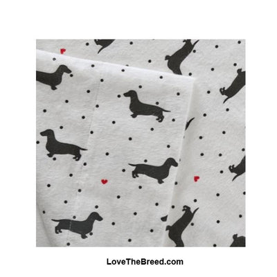 FLANNEL Dachshund Print Sheet Sets