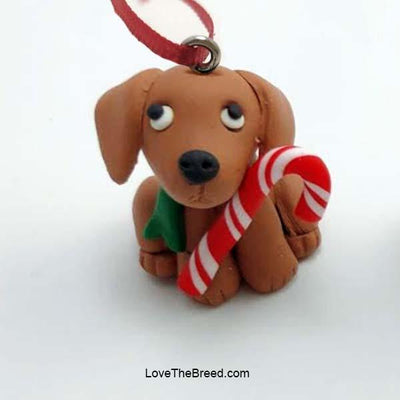 Dachshund Puppy with Candy Cane Handmade Ornament Collectible