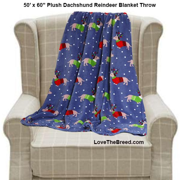Dachshund Holiday Blanket Throw