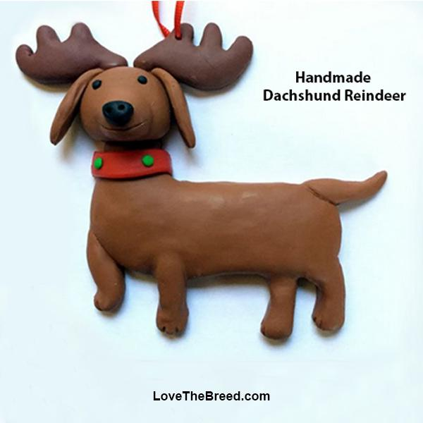 Dachshund Reindeer Ornament Handmade Collectible