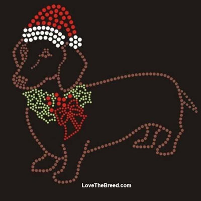Dachshund Holiday Rhinestone Shirt RED