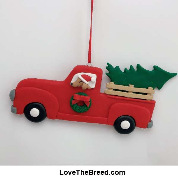 Dachshund Retro Truck Christmas Tree Handmade Ornament Collectible