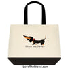 Dachshund Short and Sweet Black and Tan Tote