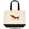 Dachshund Short and Sweet Brown Tote