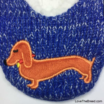 Dachshund Blue KNIT Slippers Love The Breed