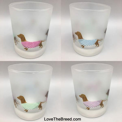 Dachshund Drinking Glasses Frosted 14 ounces