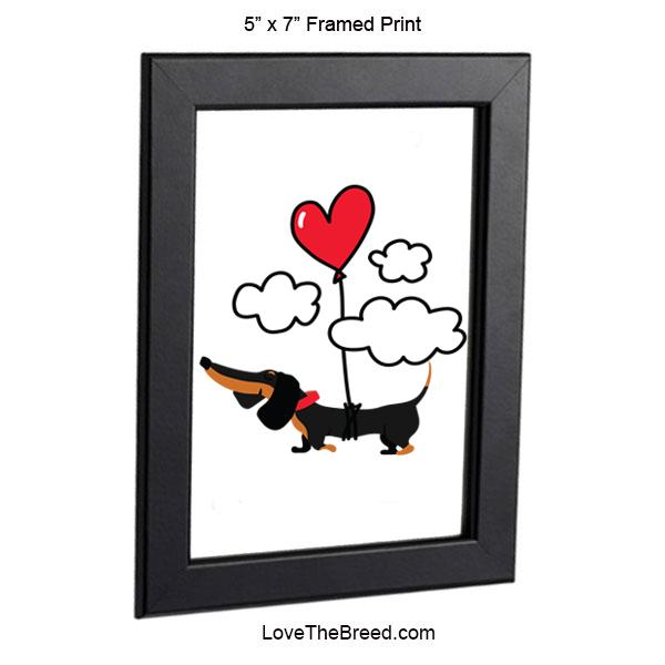 Dachshund Up Up and Away Heart Balloon Black and Tan Framed Print 5 x 7