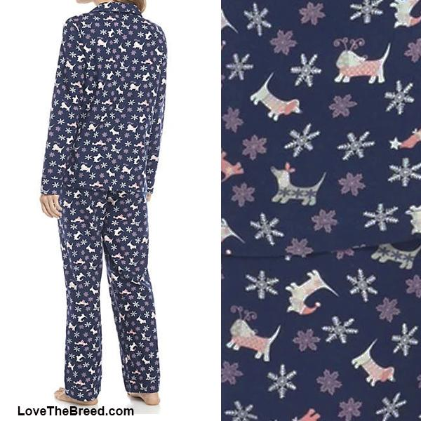 Dachshund Winter Flannel Pajama Set Navy Blue