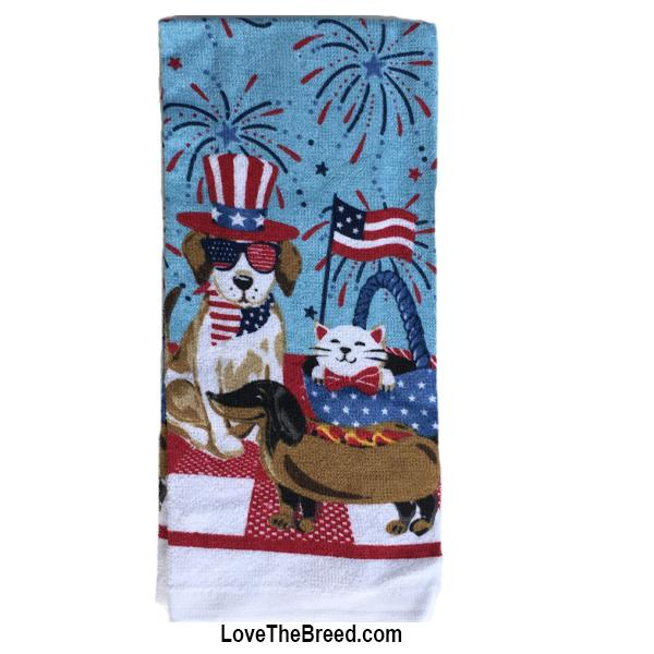 Dachshund and Friends Patriotic Hand Towel