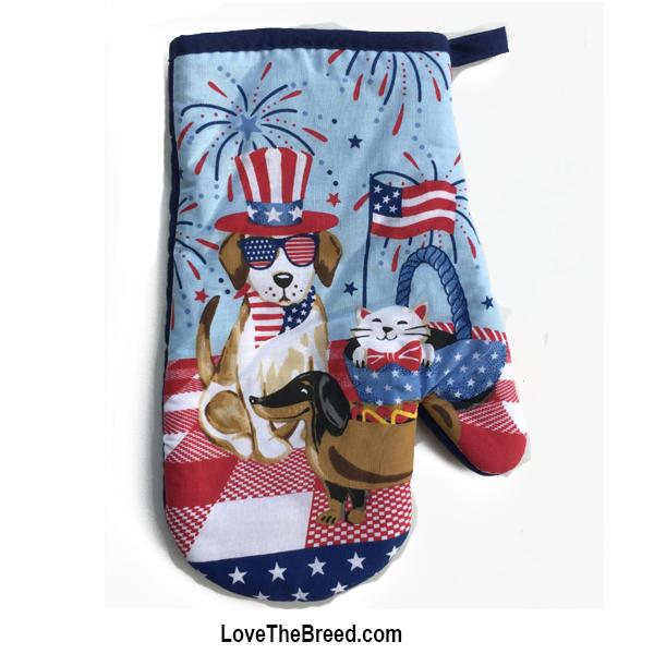 Dachshund and Friends Patriotic Oven Mitt