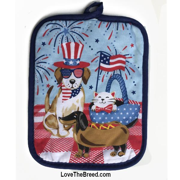 Dachshund and Friends Patriotic Pot Holder