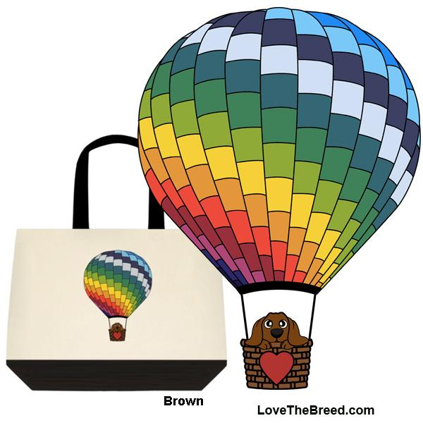 Dachshund in Hot Air Balloon Extra Large Tote